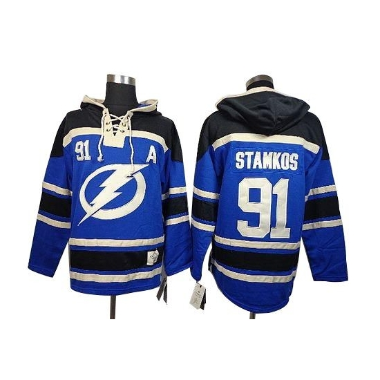Steven Stamkos Tampa Bay Lightning Old Time Hockey Authentic Sawyer Hooded Sweatshirt Jersey - Blue