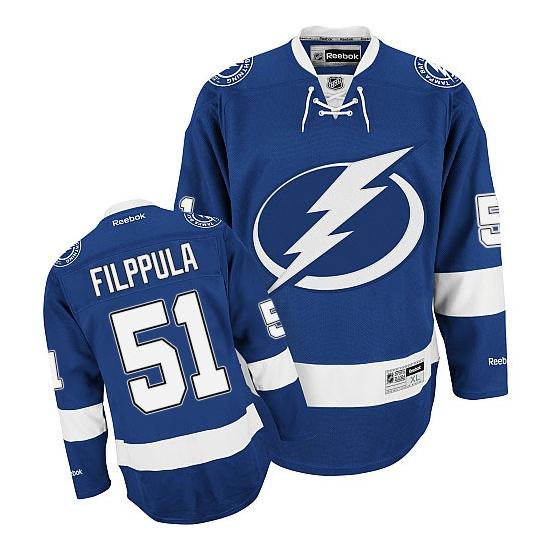 Valtteri Filppula Tampa Bay Lightning Premier Home Reebok Jersey - Blue