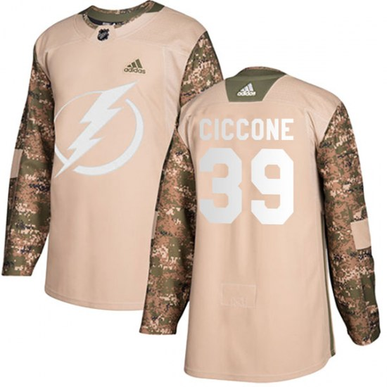 Enrico Ciccone Tampa Bay Lightning Authentic Veterans Day Practice Adidas Jersey - Camo