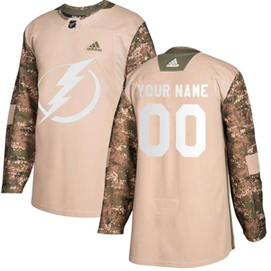 Custom Tampa Bay Lightning Authentic Veterans Day Practice Adidas Jersey - Camo