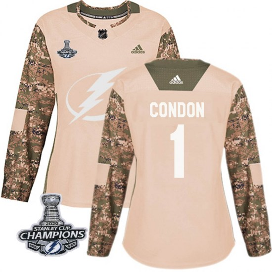 Mike Condon Tampa Bay Lightning Women's Authentic Veterans Day Practice 2020 Stanley Cup Champions Adidas Jersey - Camo