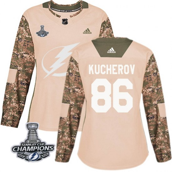 Nikita Kucherov Tampa Bay Lightning Women's Authentic Veterans Day Practice 2020 Stanley Cup Champions Adidas Jersey - Camo