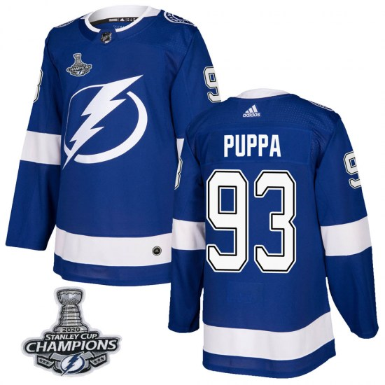 Daren Puppa Tampa Bay Lightning Youth Authentic Home 2020 Stanley Cup Champions Adidas Jersey - Blue
