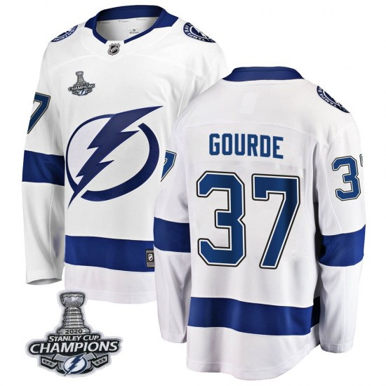 Yanni Gourde Tampa Bay Lightning Youth Breakaway Away 2020 Stanley Cup Champions Fanatics Branded Jersey - White