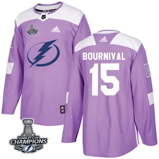 Michael Bournival Tampa Bay Lightning Authentic Fights Cancer Practice 2020 Stanley Cup Champions Adidas Jersey - Purple