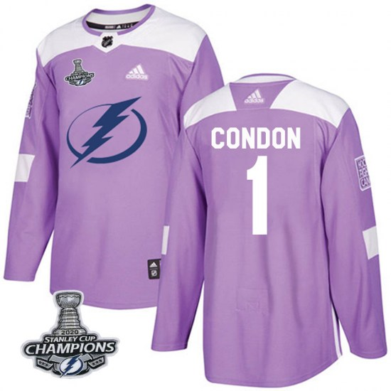 Mike Condon Tampa Bay Lightning Authentic Fights Cancer Practice 2020 Stanley Cup Champions Adidas Jersey - Purple
