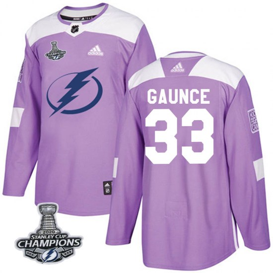 Cameron Gaunce Tampa Bay Lightning Authentic Fights Cancer Practice 2020 Stanley Cup Champions Adidas Jersey - Purple