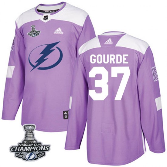 Yanni Gourde Tampa Bay Lightning Authentic Fights Cancer Practice 2020 Stanley Cup Champions Adidas Jersey - Purple