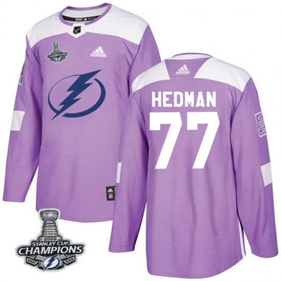 Victor Hedman Tampa Bay Lightning Authentic Fights Cancer Practice 2020 Stanley Cup Champions Adidas Jersey - Purple