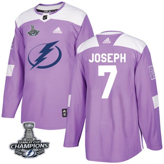 Mathieu Joseph Tampa Bay Lightning Authentic Fights Cancer Practice 2020 Stanley Cup Champions Adidas Jersey - Purple
