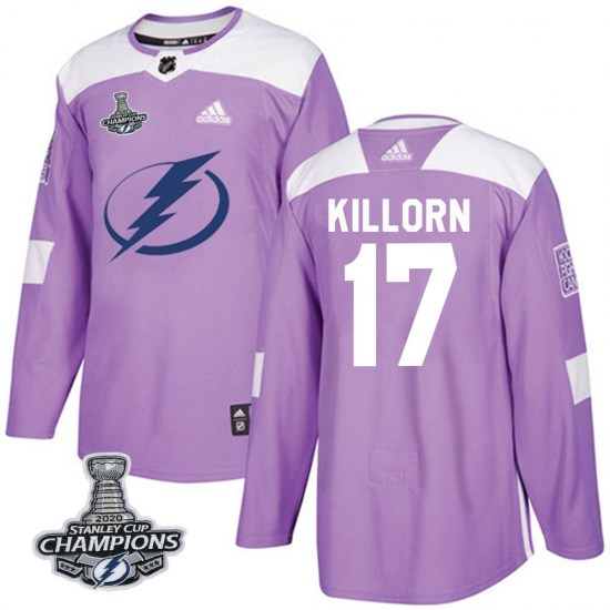 Alex Killorn Tampa Bay Lightning Authentic Fights Cancer Practice 2020 Stanley Cup Champions Adidas Jersey - Purple
