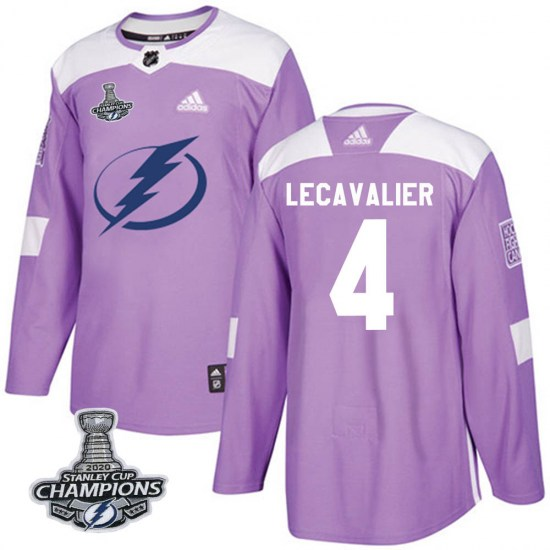 Vincent Lecavalier Tampa Bay Lightning Authentic Fights Cancer Practice 2020 Stanley Cup Champions Adidas Jersey - Purple