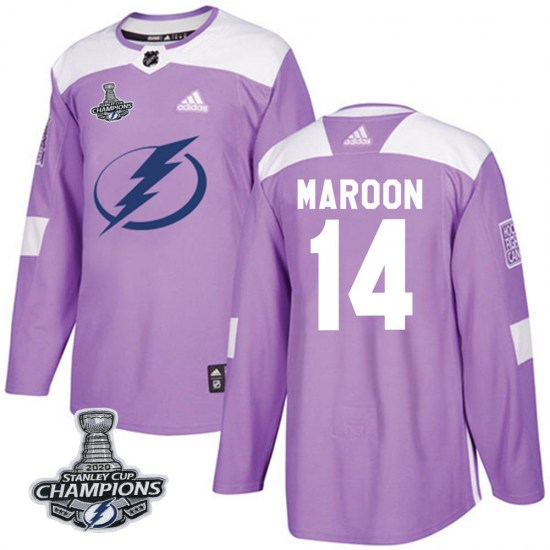 Patrick Maroon Tampa Bay Lightning Authentic Fights Cancer Practice 2020 Stanley Cup Champions Adidas Jersey - Purple