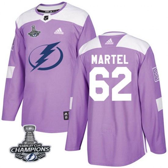 Danick Martel Tampa Bay Lightning Authentic Fights Cancer Practice 2020 Stanley Cup Champions Adidas Jersey - Purple