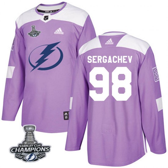 Mikhail Sergachev Tampa Bay Lightning Authentic Fights Cancer Practice 2020 Stanley Cup Champions Adidas Jersey - Purple