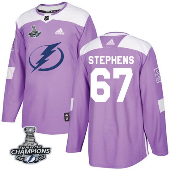 Mitchell Stephens Tampa Bay Lightning Authentic Fights Cancer Practice 2020 Stanley Cup Champions Adidas Jersey - Purple