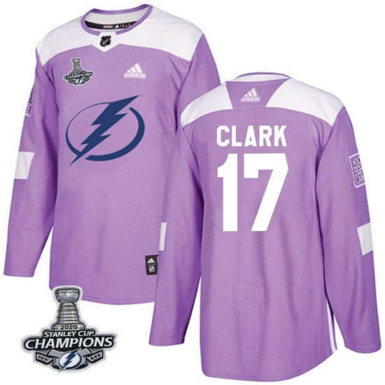 Wendel Clark Tampa Bay Lightning Youth Authentic Fights Cancer Practice 2020 Stanley Cup Champions Adidas Jersey - Purple
