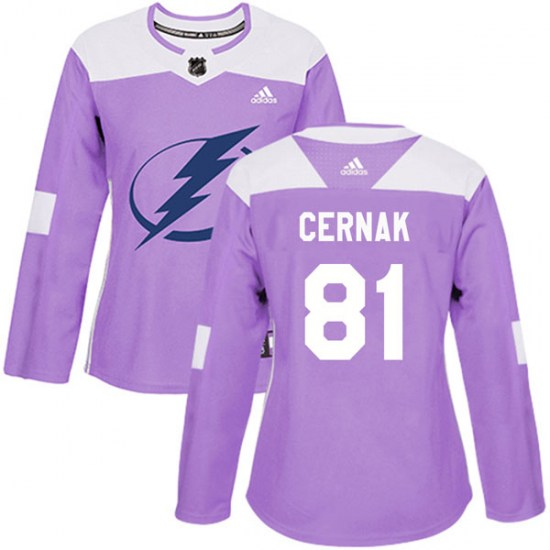 Erik Cernak Tampa Bay Lightning Women's Authentic Fights Cancer Practice Adidas Jersey - Purple