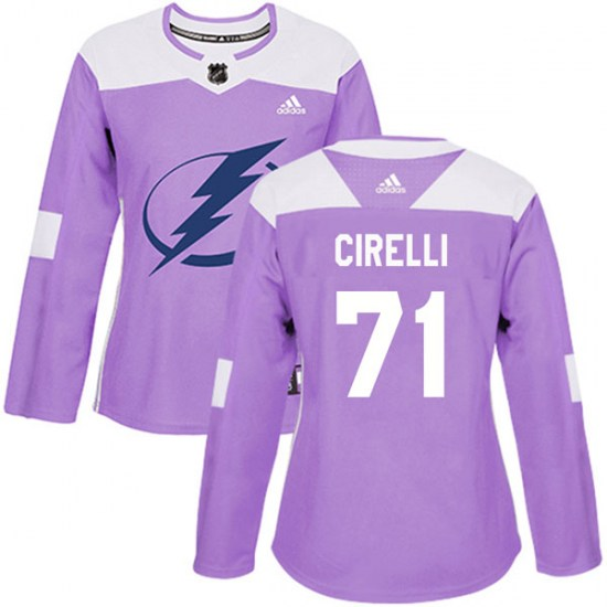 Anthony Cirelli Tampa Bay Lightning Women's Authentic Fights Cancer Practice Adidas Jersey - Purple