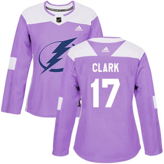 Wendel Clark Tampa Bay Lightning Women's Authentic Fights Cancer Practice Adidas Jersey - Purple