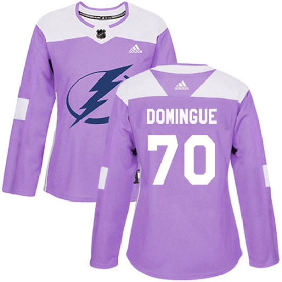 Louis Domingue Tampa Bay Lightning Women's Authentic Fights Cancer Practice Adidas Jersey - Purple