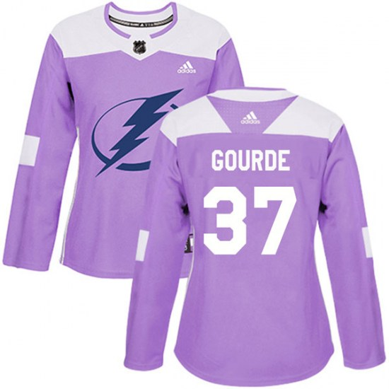 Yanni Gourde Tampa Bay Lightning Women's Authentic Fights Cancer Practice Adidas Jersey - Purple