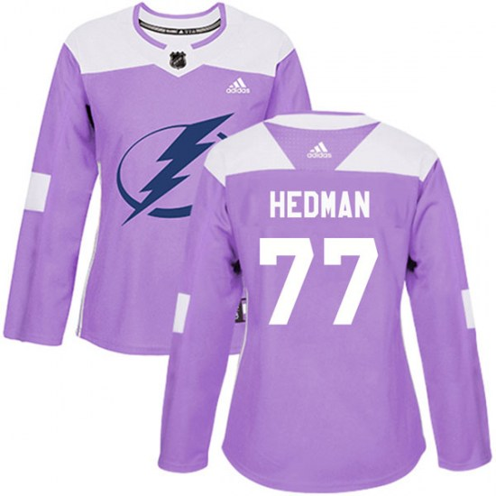 Victor Hedman Tampa Bay Lightning Women's Authentic Fights Cancer Practice Adidas Jersey - Purple