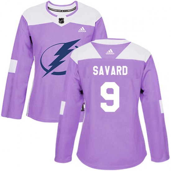 Denis Savard Tampa Bay Lightning Women's Authentic Fights Cancer Practice Adidas Jersey - Purple