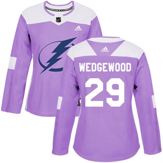 Scott Wedgewood Tampa Bay Lightning Women's Authentic ized Fights Cancer Practice Adidas Jersey - Purple