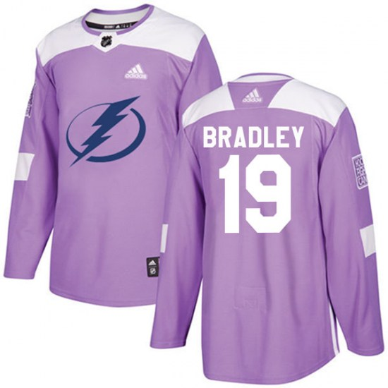 Brian Bradley Tampa Bay Lightning Authentic Fights Cancer Practice Adidas Jersey - Purple