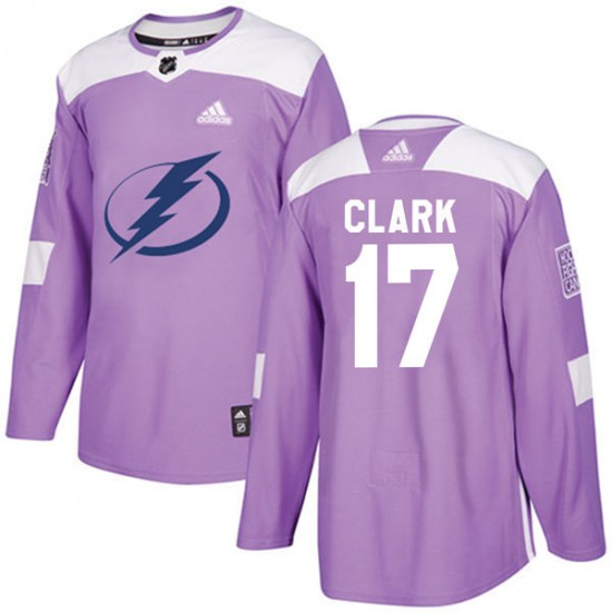 Wendel Clark Tampa Bay Lightning Authentic Fights Cancer Practice Adidas Jersey - Purple