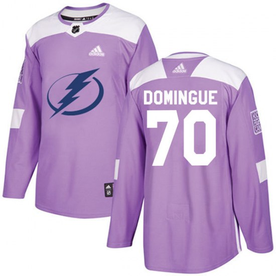 Louis Domingue Tampa Bay Lightning Authentic Fights Cancer Practice Adidas Jersey - Purple