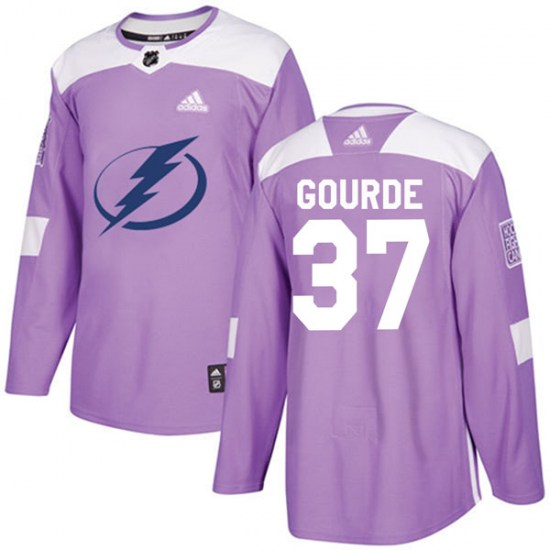 Yanni Gourde Tampa Bay Lightning Authentic Fights Cancer Practice Adidas Jersey - Purple