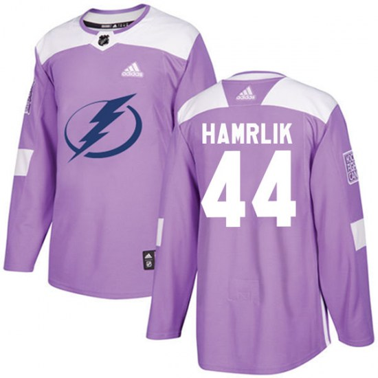 Roman Hamrlik Tampa Bay Lightning Authentic Fights Cancer Practice Adidas Jersey - Purple