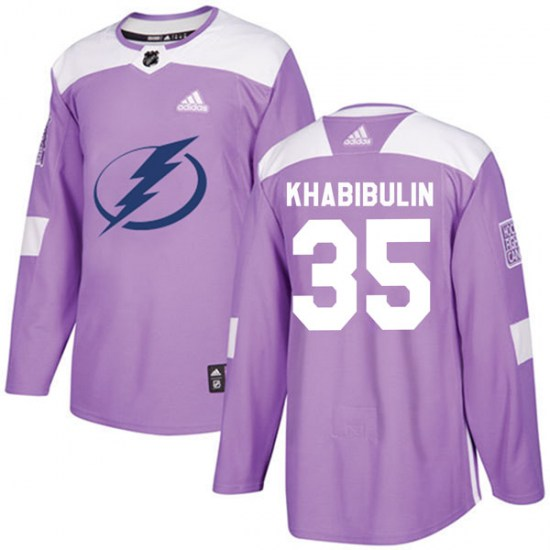Nikolai Khabibulin Tampa Bay Lightning Authentic Fights Cancer Practice Adidas Jersey - Purple