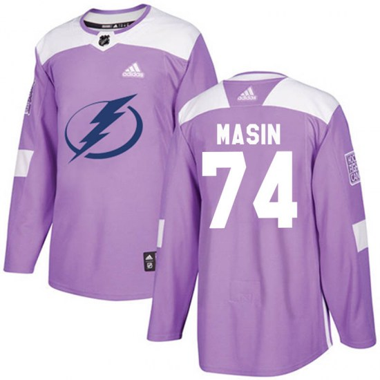 Dominik Masin Tampa Bay Lightning Authentic Fights Cancer Practice Adidas Jersey - Purple