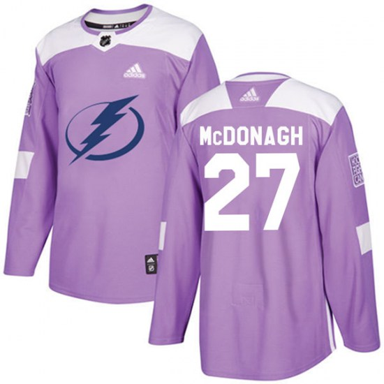 Ryan McDonagh Tampa Bay Lightning Authentic Fights Cancer Practice Adidas Jersey - Purple