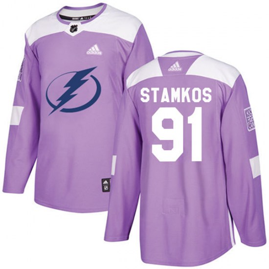 Steven Stamkos Tampa Bay Lightning Authentic Fights Cancer Practice Adidas Jersey - Purple