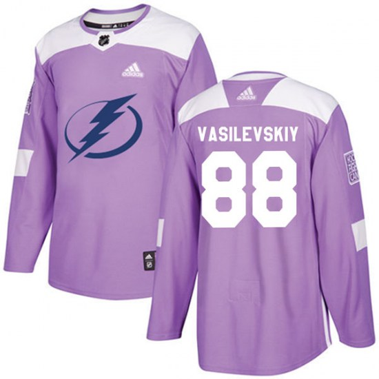 Andrei Vasilevskiy Tampa Bay Lightning Authentic Fights Cancer Practice Adidas Jersey - Purple