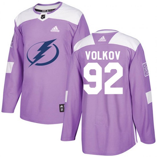 Alexander Volkov Tampa Bay Lightning Authentic ized Fights Cancer Practice Adidas Jersey - Purple