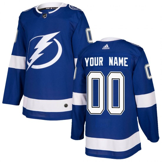 Custom Tampa Bay Lightning Authentic Home Adidas Jersey - Blue