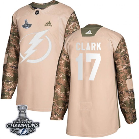 Wendel Clark Tampa Bay Lightning Youth Authentic Veterans Day Practice 2020 Stanley Cup Champions Adidas Jersey - Camo