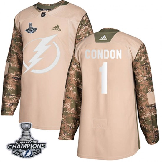 Mike Condon Tampa Bay Lightning Youth Authentic Veterans Day Practice 2020 Stanley Cup Champions Adidas Jersey - Camo