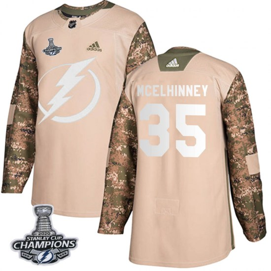 Curtis McElhinney Tampa Bay Lightning Youth Authentic Veterans Day Practice 2020 Stanley Cup Champions Adidas Jersey - Camo