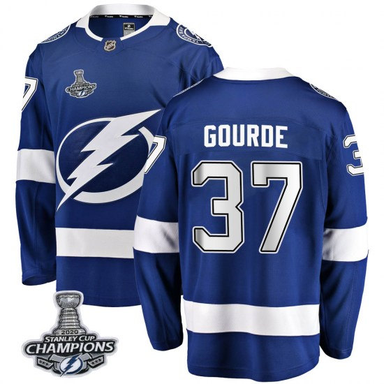 Yanni Gourde Tampa Bay Lightning Youth Breakaway Home 2020 Stanley Cup Champions Fanatics Branded Jersey - Blue
