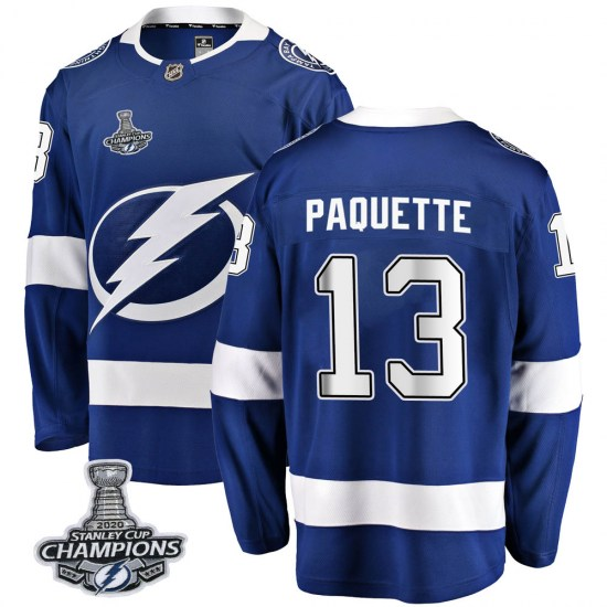 Cedric Paquette Tampa Bay Lightning Youth Breakaway Home 2020 Stanley Cup Champions Fanatics Branded Jersey - Blue