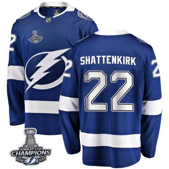 Kevin Shattenkirk Tampa Bay Lightning Youth Breakaway Home 2020 Stanley Cup Champions Fanatics Branded Jersey - Blue