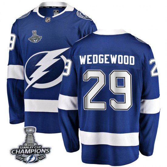 Scott Wedgewood Tampa Bay Lightning Youth Breakaway Home 2020 Stanley Cup Champions Fanatics Branded Jersey - Blue