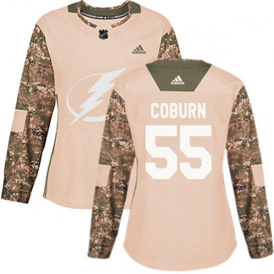 Braydon Coburn Tampa Bay Lightning Women's Authentic Veterans Day Practice Adidas Jersey - Camo