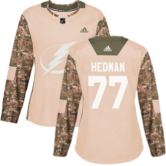 Victor Hedman Tampa Bay Lightning Women's Authentic Veterans Day Practice Adidas Jersey - Camo